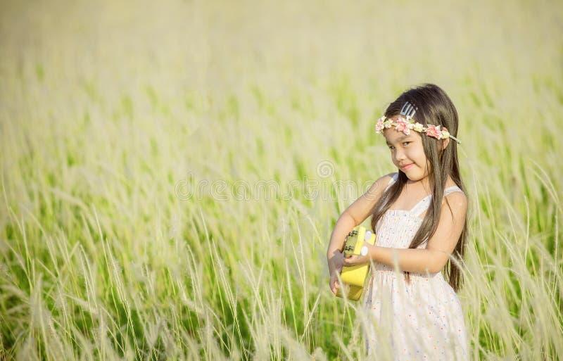 Retrato de la muchacha sonriente feliz hermosa al prado en naturaleza el día soleado fotografía de archivo