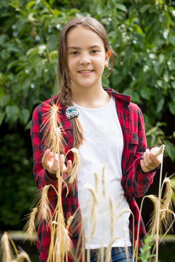 Retrato de la muchacha sonriente que presenta con trigo maduro de oro imagen de archivo