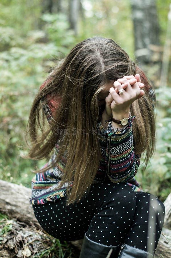 Retrato de la muchacha triste dramática imagen de archivo libre de regalías