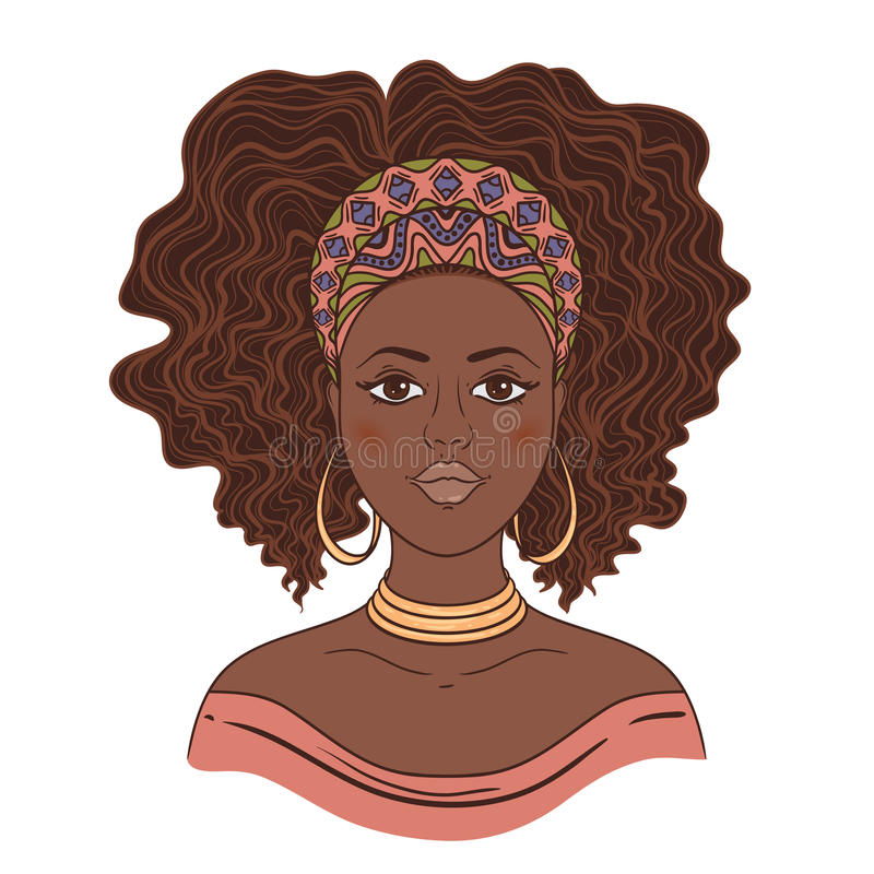 Retrato de la mujer africana ilustración del vector