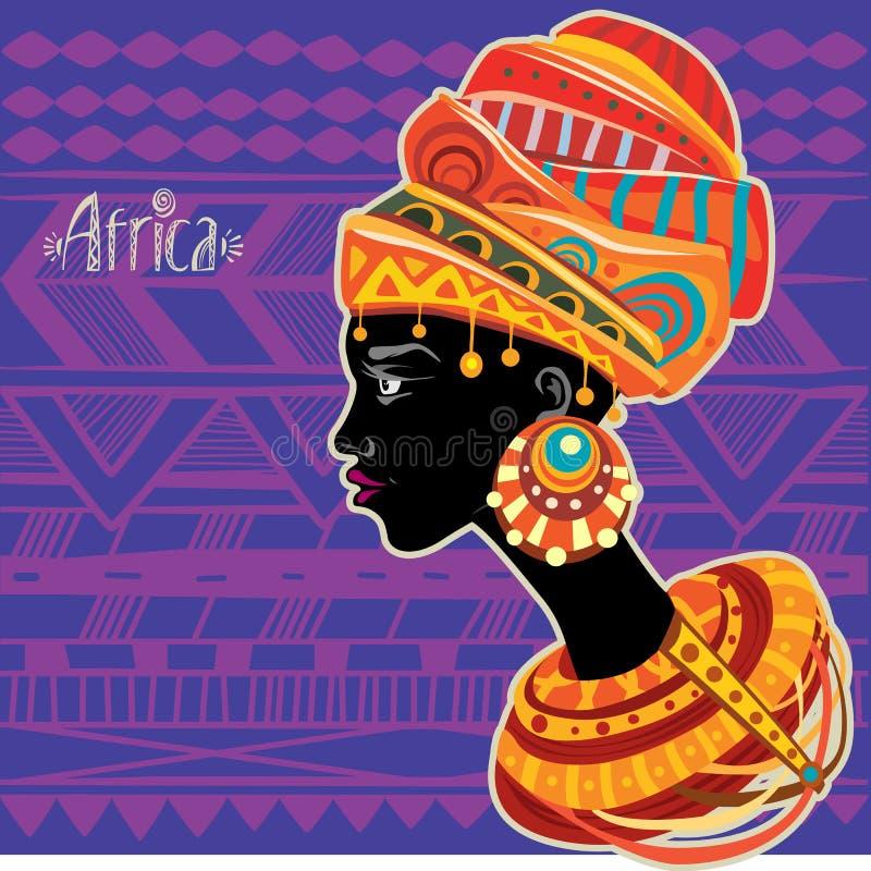 Retrato de la mujer africana en turbante étnico ilustración del vector