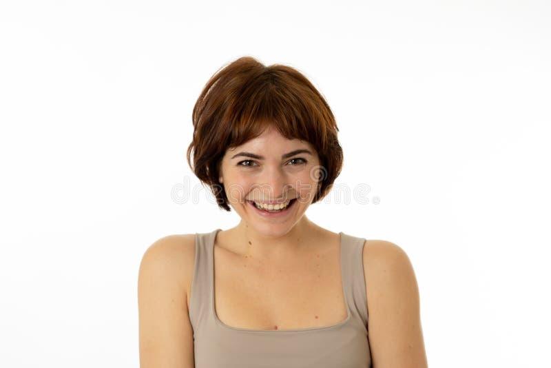 Retrato de la mujer alegre atractiva joven con la cara feliz sonriente Expresiones y emociones humanas fotos de archivo
