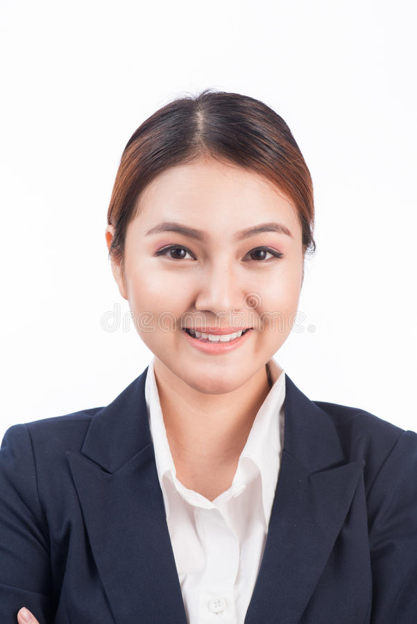 Retrato de la mujer asiática del negocio joven feliz aislada en b blanco fotos de archivo