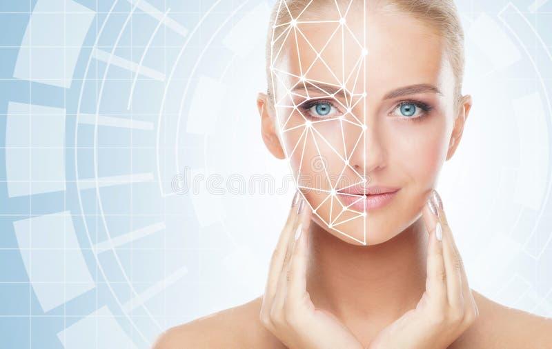 Retrato de la mujer atractiva con una rejilla de exploración en su cara Identificaci?n de la cara, seguridad, reconocimiento faci imagen de archivo