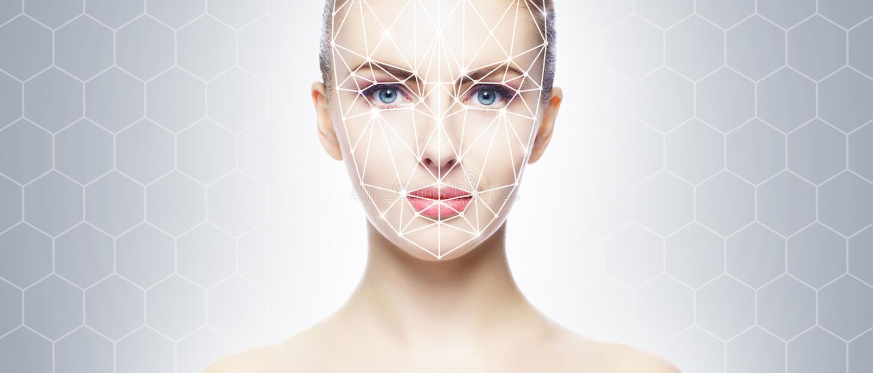 Retrato de la mujer atractiva con una rejilla scnanning en su cara Identificaci?n de la cara, seguridad, reconocimiento facial, t fotos de archivo libres de regalías