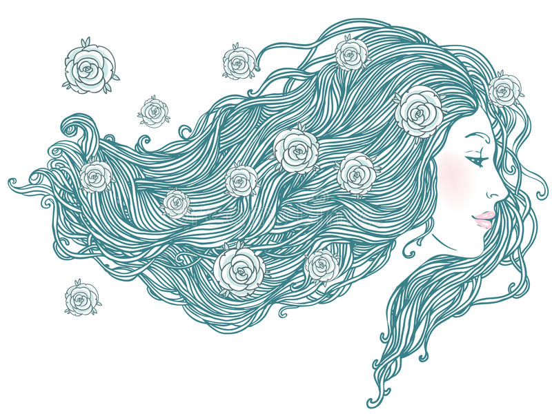 Retrato de la mujer bastante joven con el pelo largo ilustración del vector