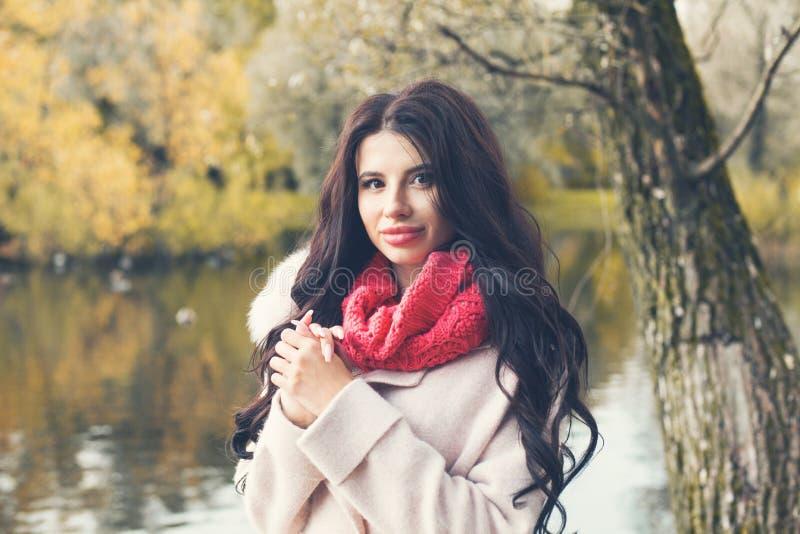 retrato de la mujer bonita joven en parque de la caída imágenes de archivo libres de regalías