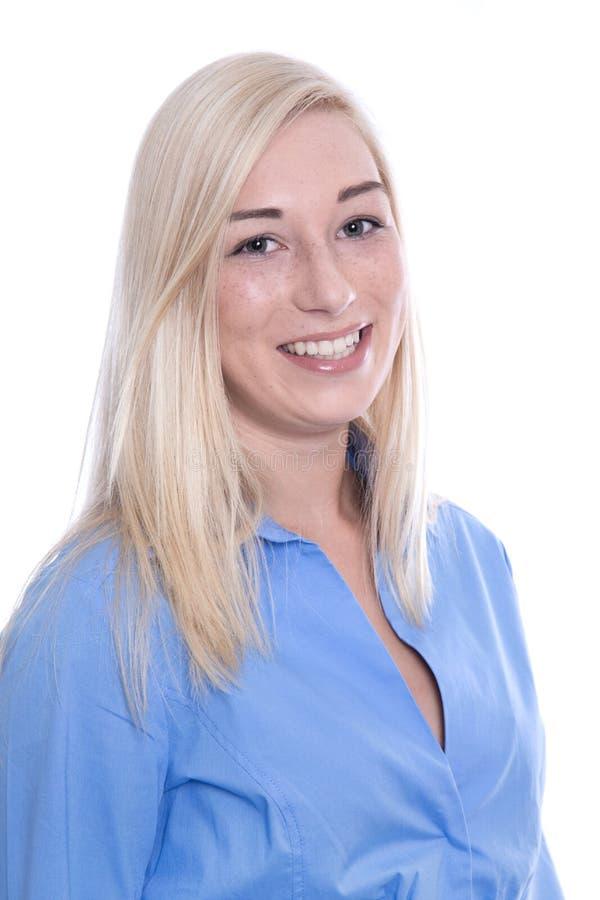 Retrato de la mujer bonita rubia con el pelo largo, ISO foto de archivo