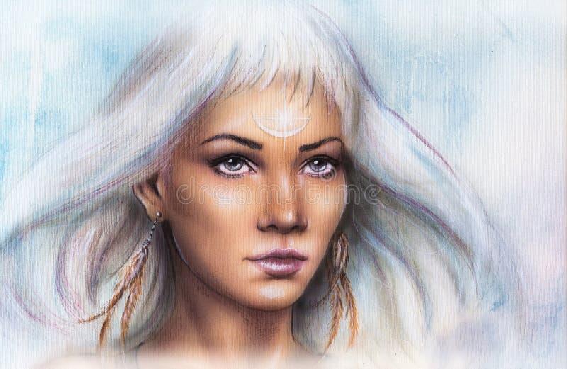 Retrato de la mujer, con el tatuaje del ornamento en las joyas de la cara y de las plumas y el fondo abstracto Componga al artist imagen de archivo