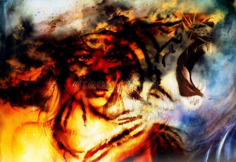 Retrato de la mujer con el tigre espiritual del fuego en el espacio, collage de la pintura del color fotografía de archivo