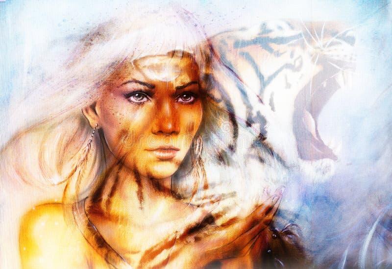 Retrato de la mujer con el tigre espiritual en el espacio, cuesta de la pintura del color stock de ilustración