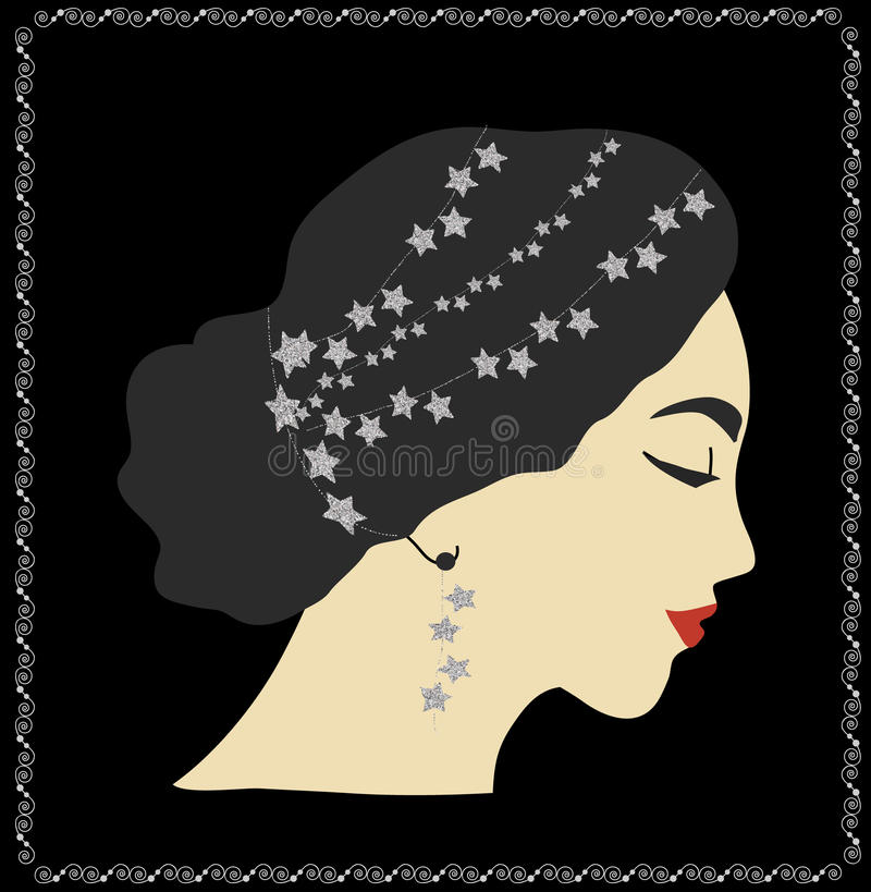 Retrato de la mujer con las estrellas de la plata en pelo libre illustration