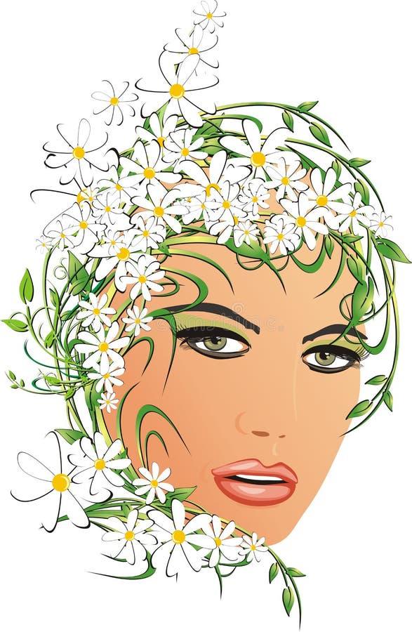 Retrato de la mujer con las manzanillas libre illustration