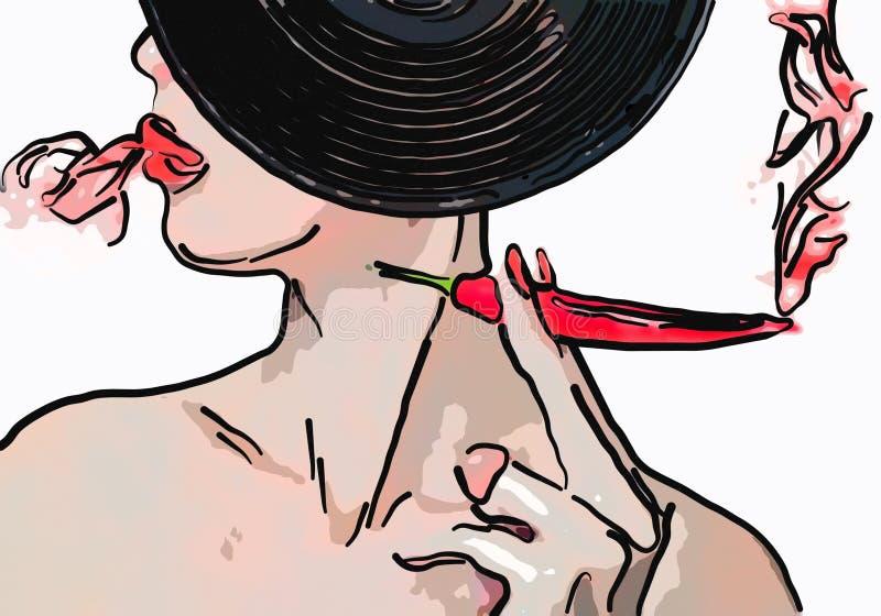 Retrato de la mujer con los labios rojos y la pimienta ardiente roja libre illustration