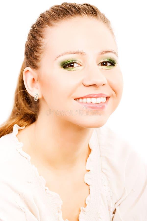 Retrato de la mujer de la belleza con sonrisa en su cara imágenes de archivo libres de regalías