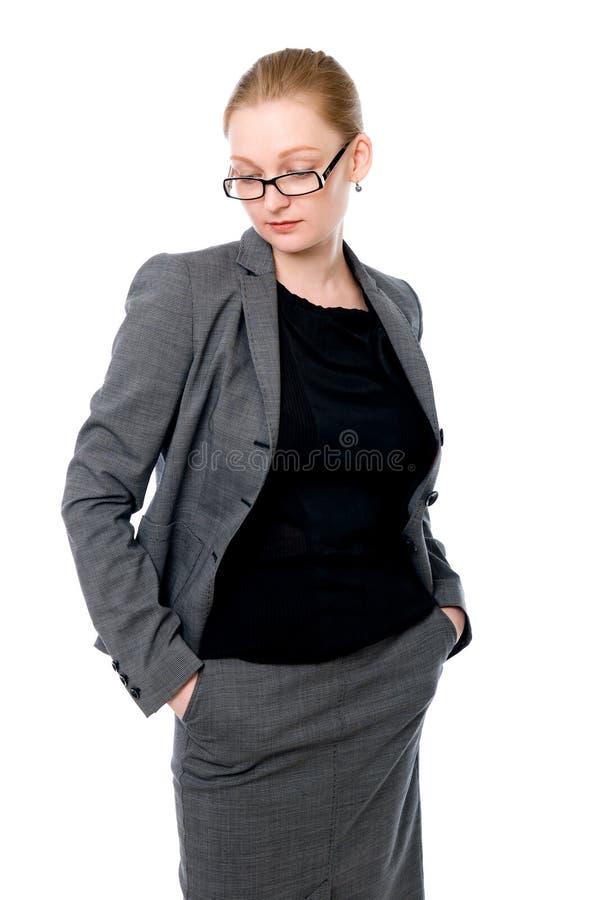 Retrato de la mujer de la oficina en vidrios. fotos de archivo libres de regalías