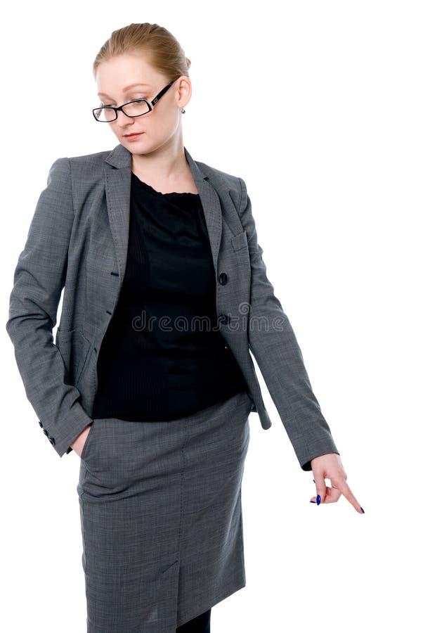 Retrato de la mujer de la oficina en vidrios. imágenes de archivo libres de regalías