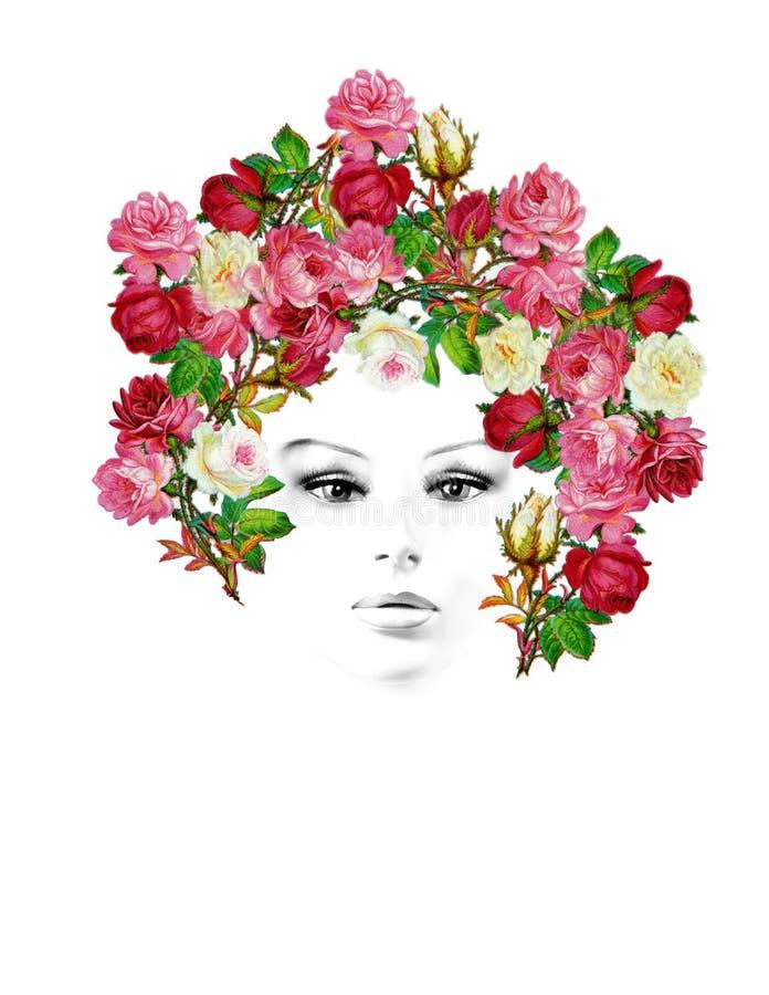 Retrato de la mujer de las rosas del vintage foto de archivo