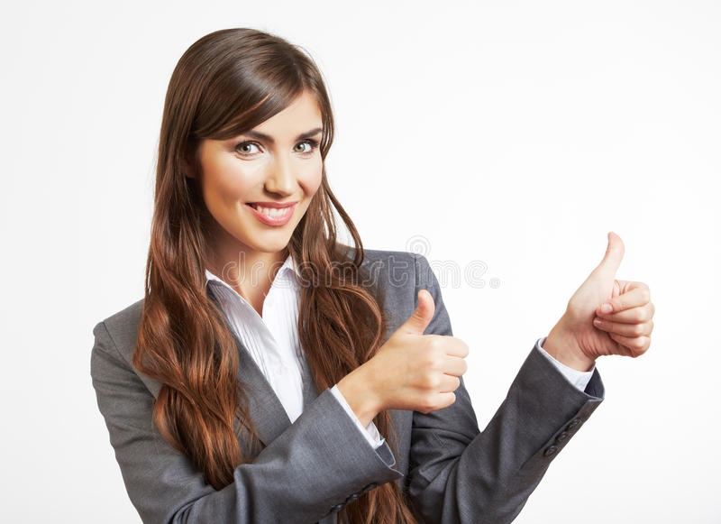 Retrato de la mujer de negocios aislado en blanco imagen de archivo