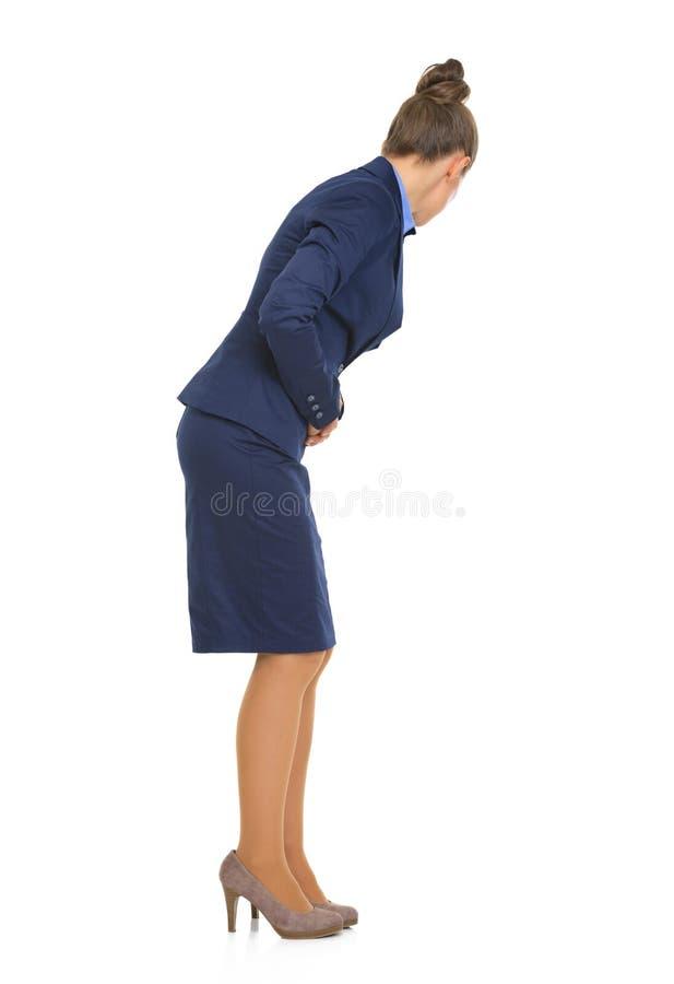 Retrato de la mujer de negocios con dolor de estómago fotos de archivo libres de regalías