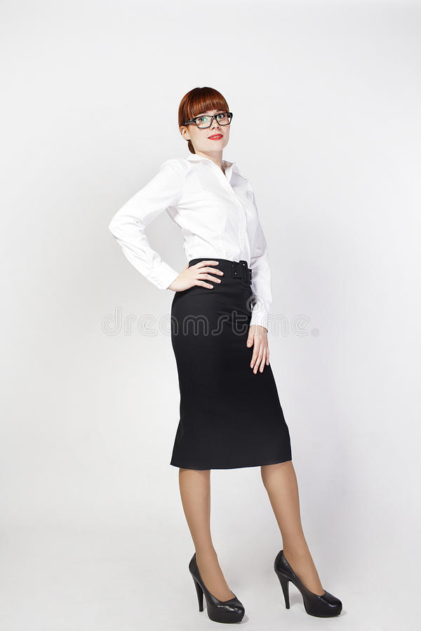 Retrato de la mujer de negocios en el fondo blanco. fotografía de archivo libre de regalías