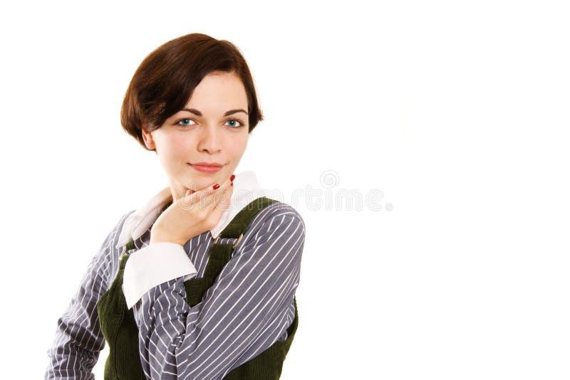 Retrato de la mujer de negocios rubia joven. foto de archivo