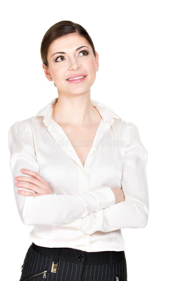 Retrato de la mujer de pensamiento en la camisa blanca imagenes de archivo