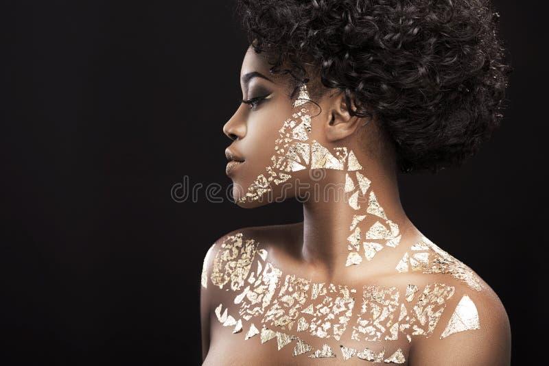 Retrato de la mujer del afroamericano imagenes de archivo