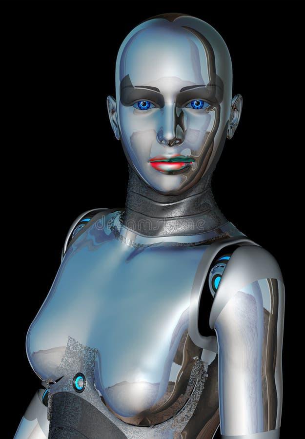 Retrato de la mujer del robot ilustración del vector