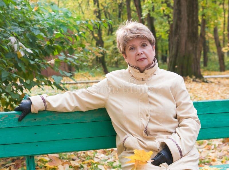 Retrato de la mujer en parque del otoño foto de archivo