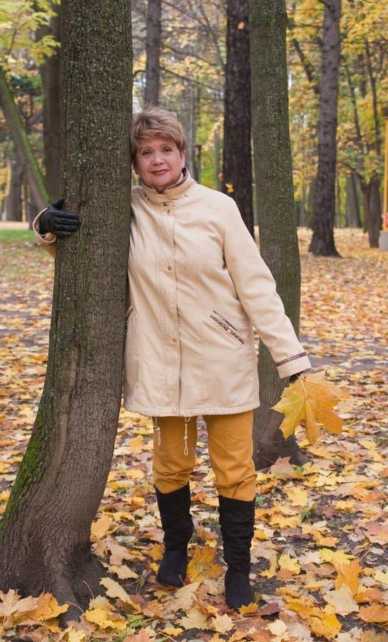 Retrato de la mujer en parque del otoño foto de archivo libre de regalías