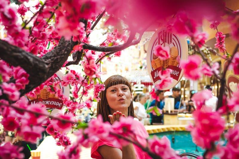 Retrato de la mujer entre el árbol de Sakura en el centro comercial imagen de archivo