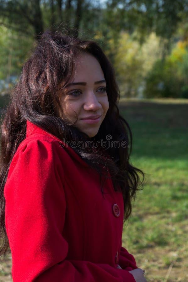 Retrato de la mujer hermosa con el pelo oscuro que lleva el rojo elegante c foto de archivo libre de regalías