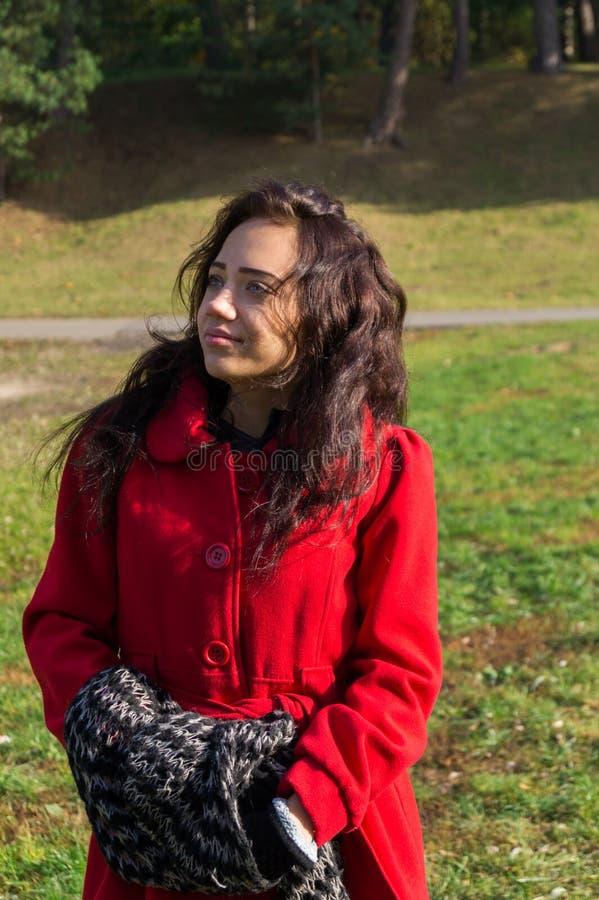 Retrato de la mujer hermosa con el pelo oscuro que lleva el rojo elegante c imagen de archivo libre de regalías