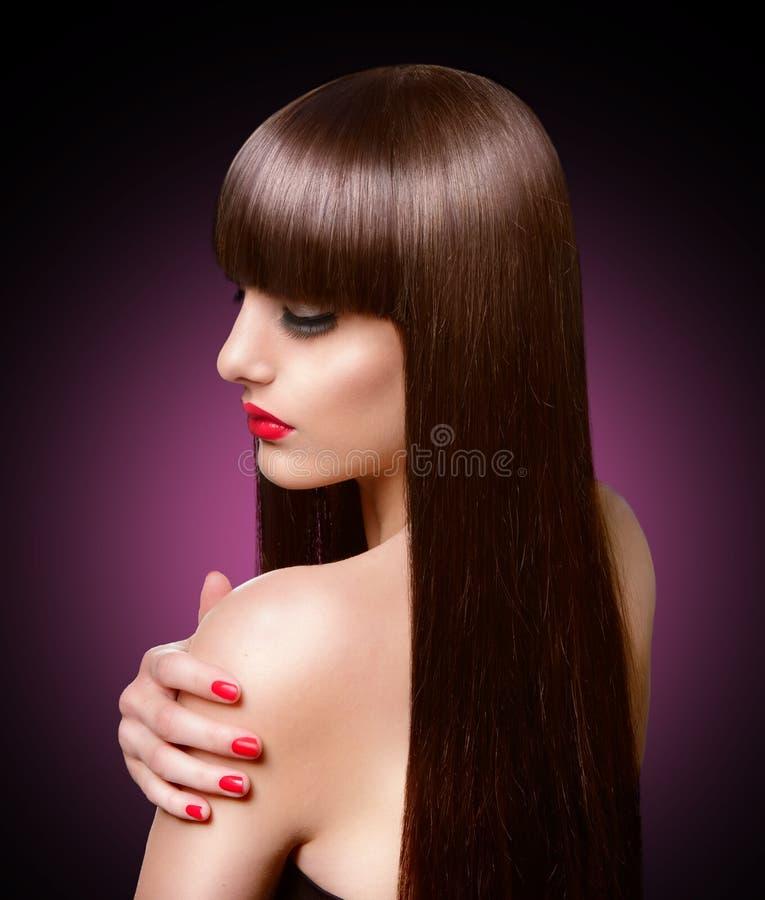 Retrato de la mujer hermosa de la moda con el pelo marrón sano largo imagenes de archivo