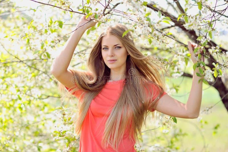 Retrato de la mujer hermosa en árbol floreciente en primavera foto de archivo