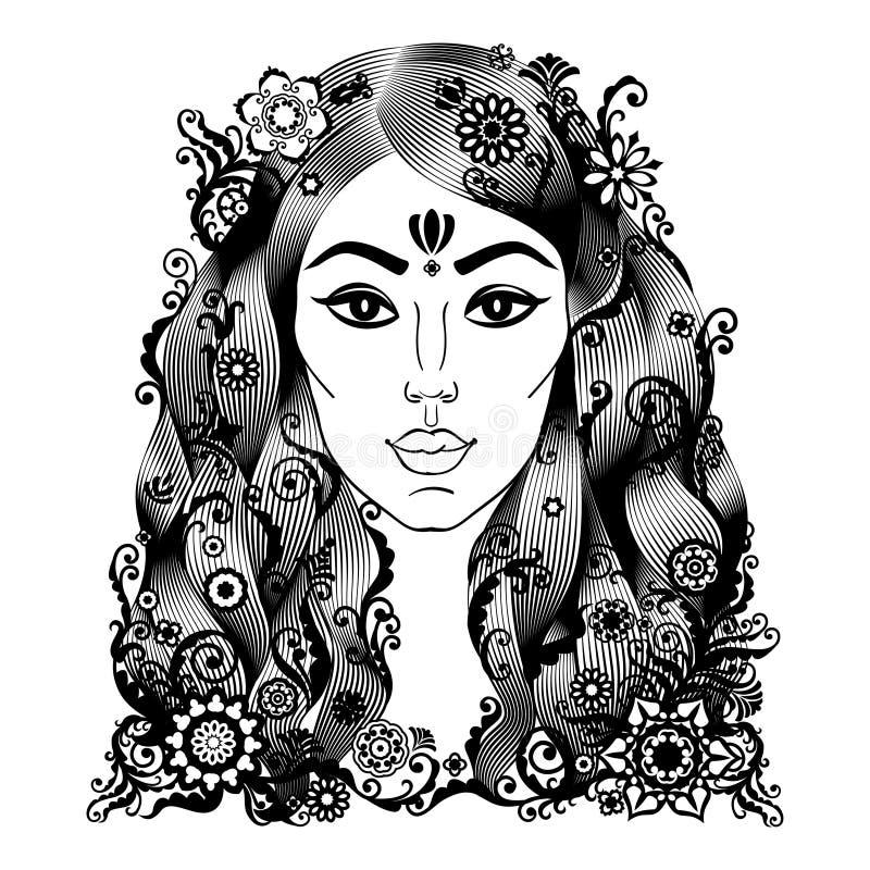 Retrato de la mujer hermosa en boho o estilo indio libre illustration