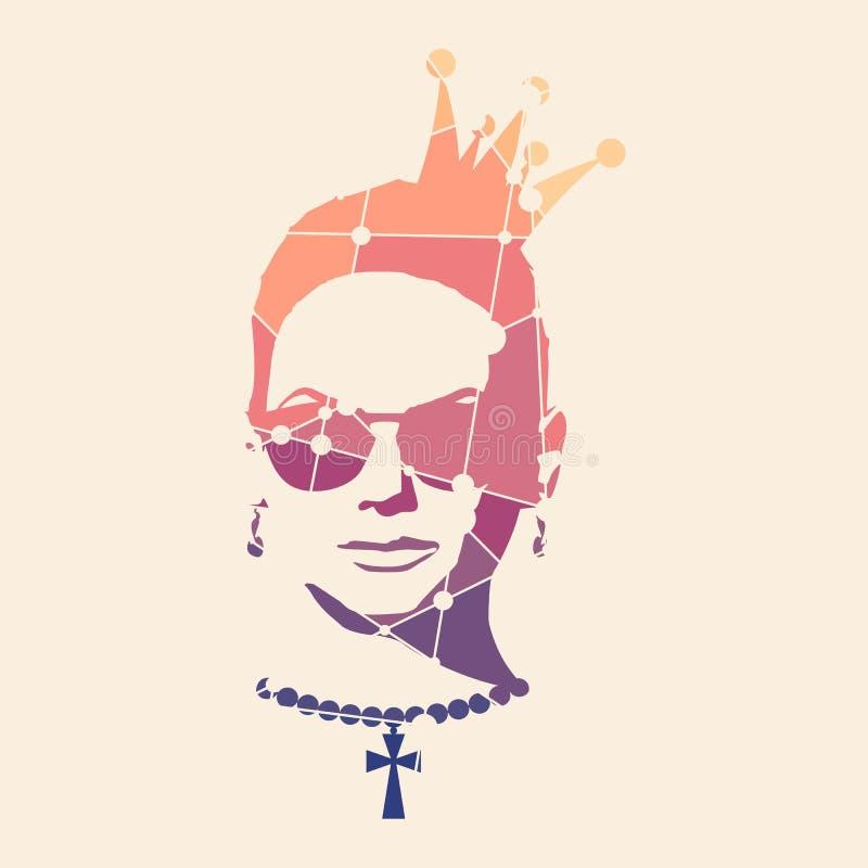 Retrato de la mujer hermosa en gafas de sol stock de ilustración