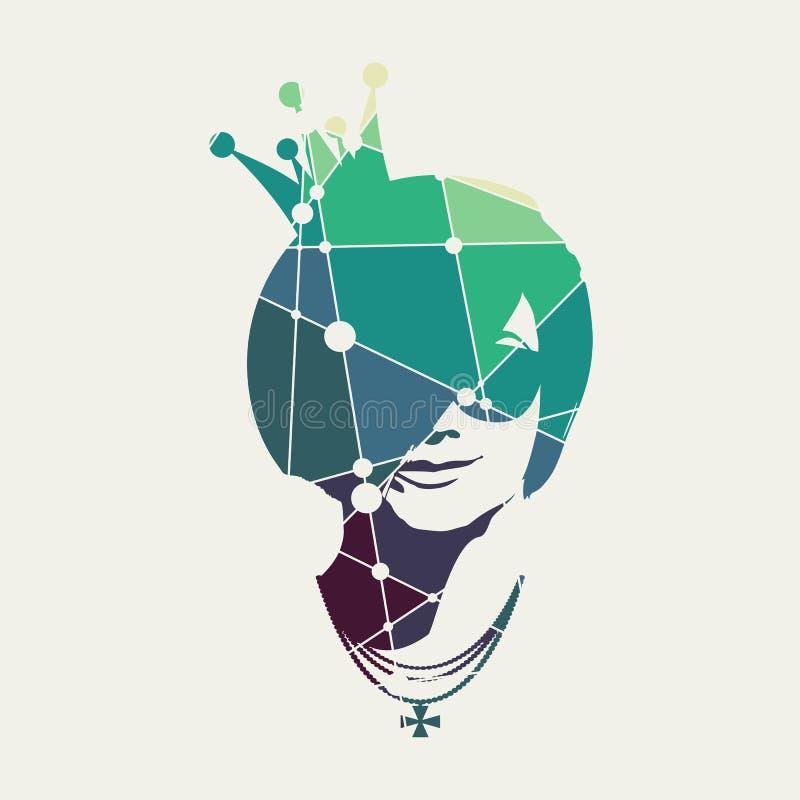 Retrato de la mujer hermosa en gafas de sol ilustración del vector