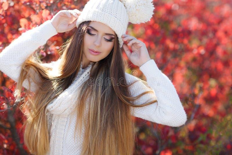 Retrato de la mujer hermosa en parque del otoño imágenes de archivo libres de regalías