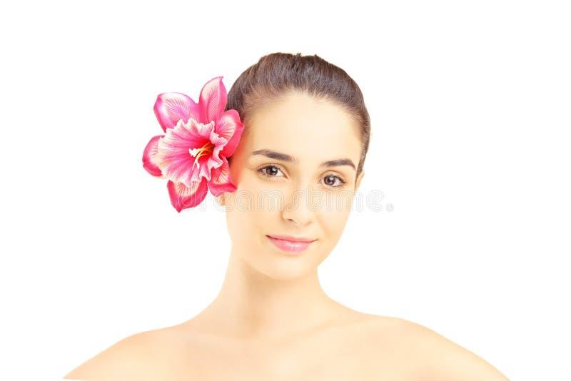 Retrato de la mujer hermosa joven con la flor en su pelo foto de archivo libre de regalías