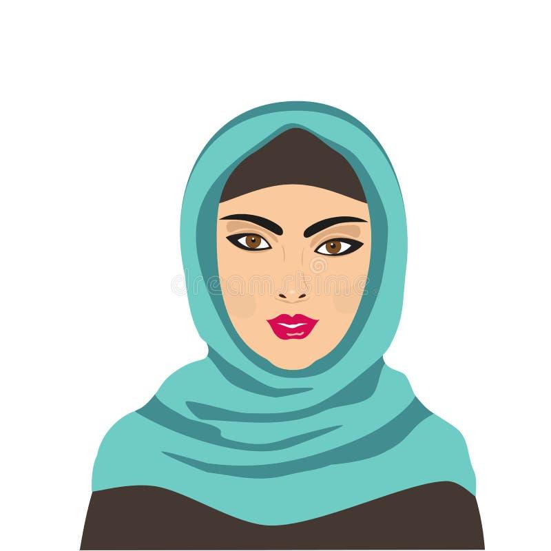 Retrato de la mujer hermosa joven musulmán libre illustration