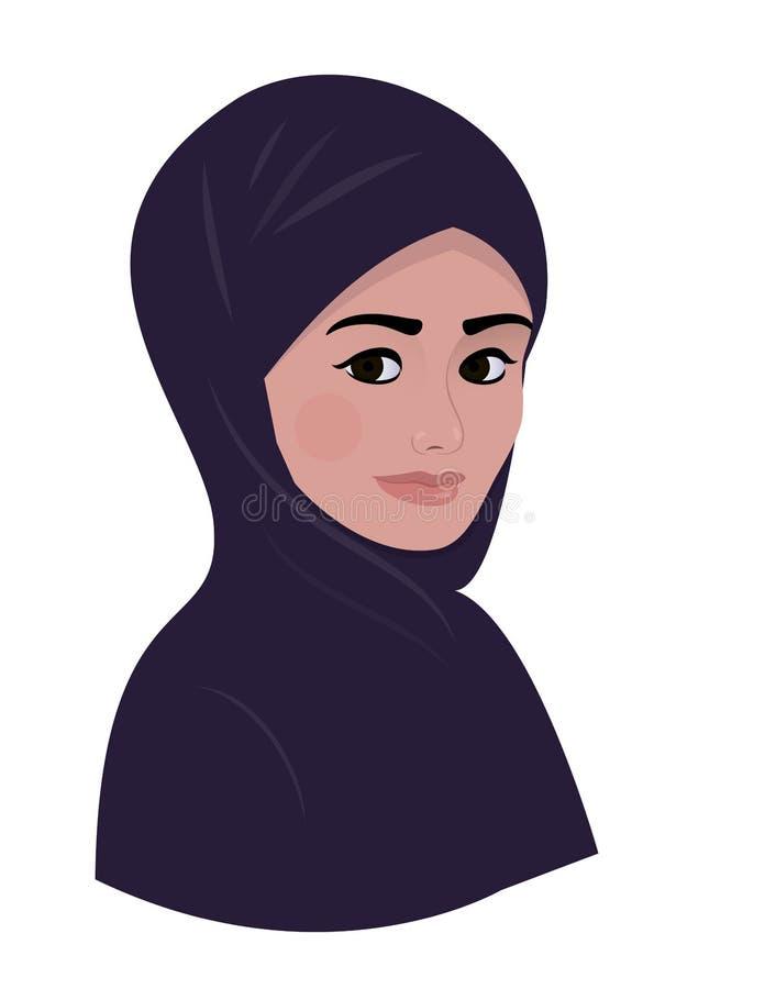 Retrato de la mujer hermosa musulmán árabe en bufanda violeta oscura del hijab ilustración del vector