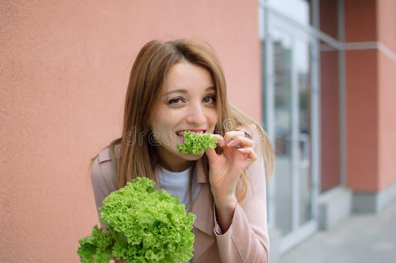 Retrato de la mujer joven de la belleza que come la ensalada fotografía de archivo libre de regalías