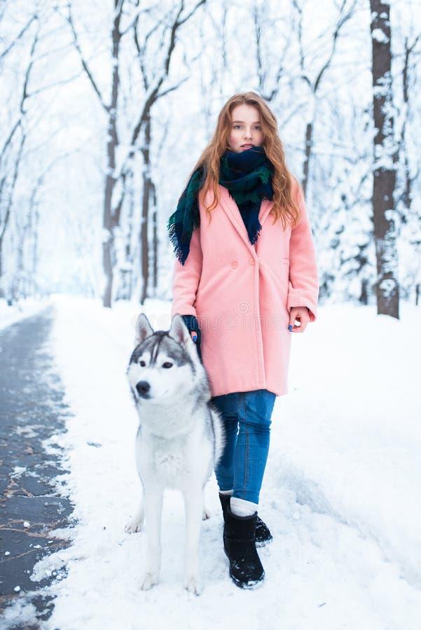 Retrato de la mujer joven con el perro fornido foto de archivo
