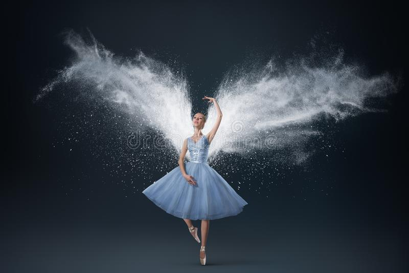 Retrato de la mujer joven con las alas etéreas fotografía de archivo
