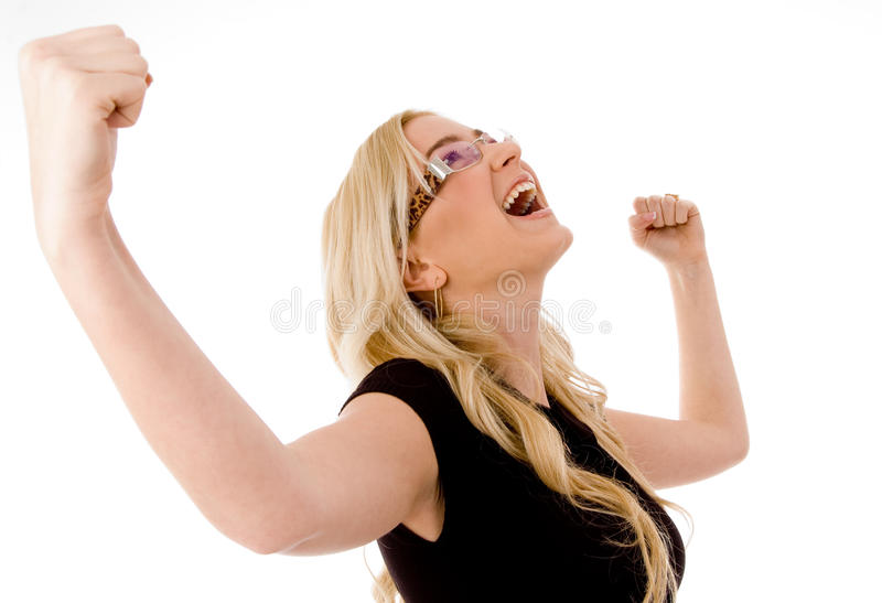 Retrato de la mujer joven contenta foto de archivo libre de regalías
