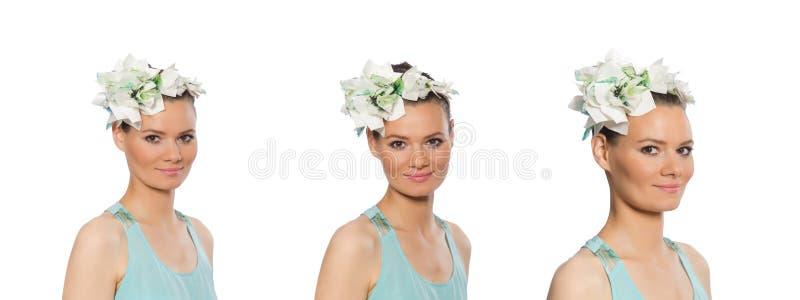 Retrato de la mujer joven en blanco fotografía de archivo libre de regalías