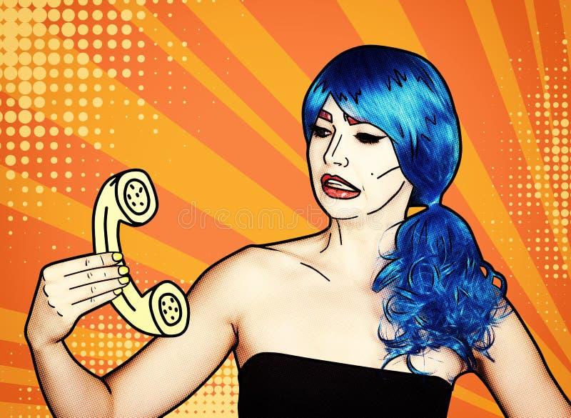 Retrato de la mujer joven en estilo cómico del maquillaje del arte pop Hembra en llamadas azules de la peluca por el teléfono ilustración del vector