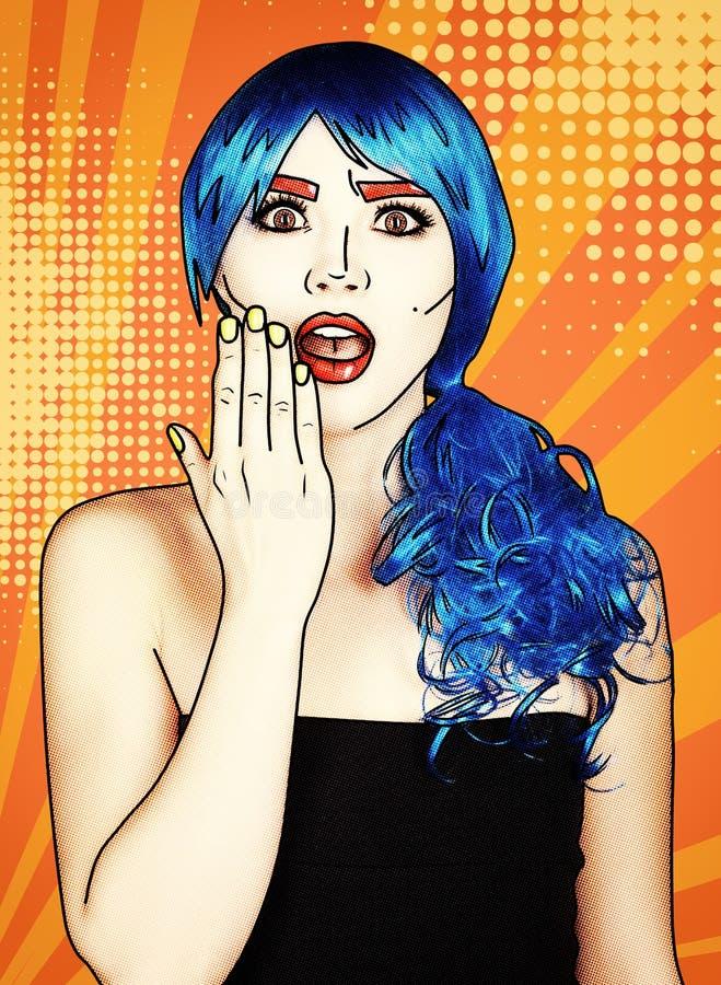 Retrato de la mujer joven en estilo cómico del maquillaje del arte pop Shoked femenino en peluca azul en fondo amarillo-naranja d stock de ilustración